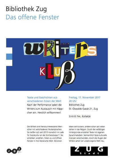Flyer Writers Klub goes Stadtbibliothek