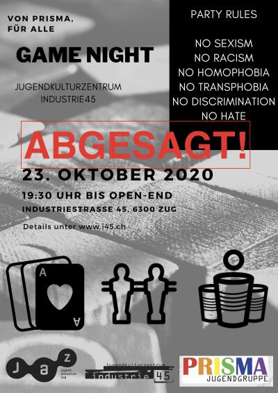 Flyer ABGESAGT! Game Night @ i45